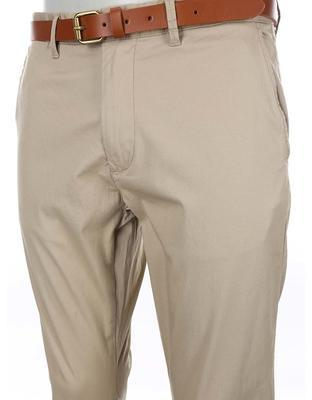 Beige slim trousers with belt Selected Yard - 3