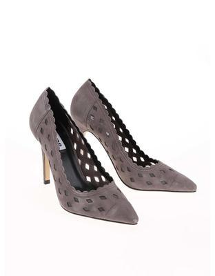 Gray perforated leather court shoes Dune London Bessie - 3