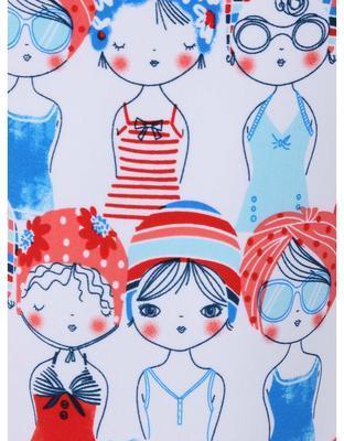Biele dievčenskú plavky s červeno-modrou potlačou Boboli - 3