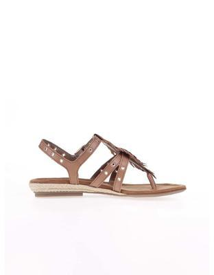 Brown leather sandals with metal studs Tamaris - 3