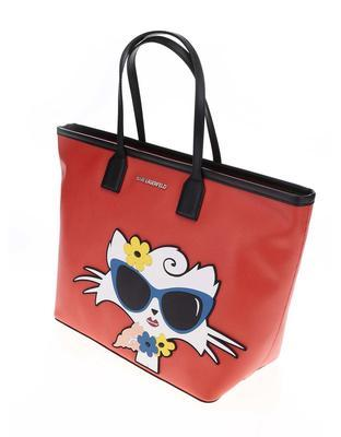 Red shopper with a motif of cats KARL LAGERFELD - 3