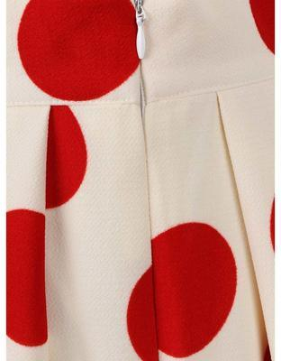 Creamy pleated skirt with red dots Smashed Lemon - 3