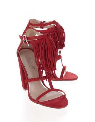 Červené semišové sandály na podpatku Miss Selfridge - 3