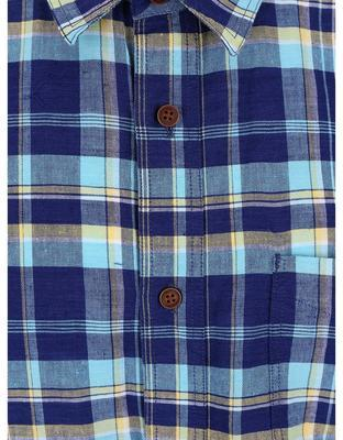 Blue plaid linen shirt Burton Menswear London - 3