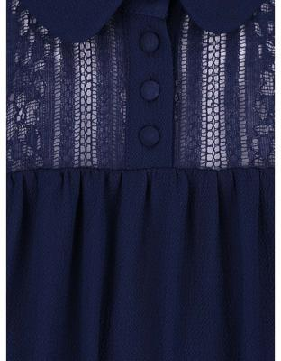 Dark blue blouse with lace collar and saddle Dorothy Perkins - 3