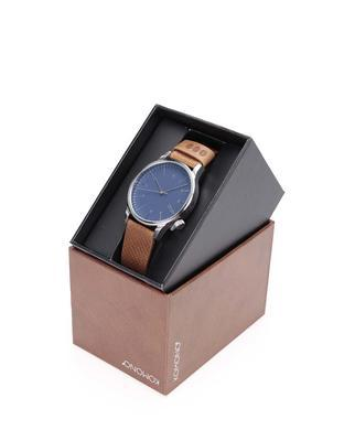 Blue unisex watch with brown leather strap Komono Winston - 3