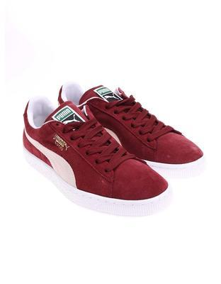 Creamy burgundy leather men sneakers Puma Suede Classic + - 3