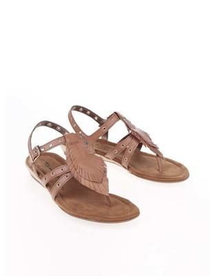 Brown leather sandals with metal studs Tamaris - 4
