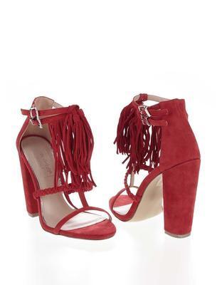 Červené semišové sandály na podpatku Miss Selfridge - 4