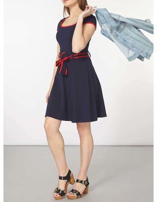 Tmavo modré šaty s červeným lemovaním Dorothy Perkins - 4