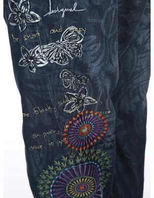 Modré vzorované džíny se sníženým sedem Desigual Turko Galactic - 5