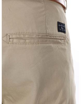 Beige slim trousers with belt Selected Yard - 5
