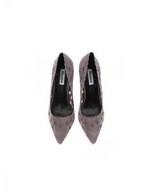 Gray perforated leather court shoes Dune London Bessie - 5