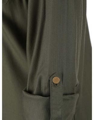 Khaki košeľa s gombíkmi v zlatej farbe Dorothy Perkins - 5