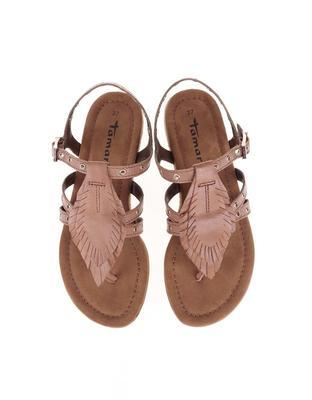 Brown leather sandals with metal studs Tamaris - 5