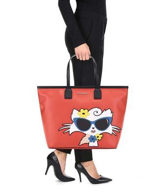 Red shopper with a motif of cats KARL LAGERFELD - 5