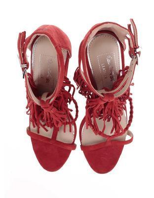 Červené semišové sandály na podpatku Miss Selfridge - 7